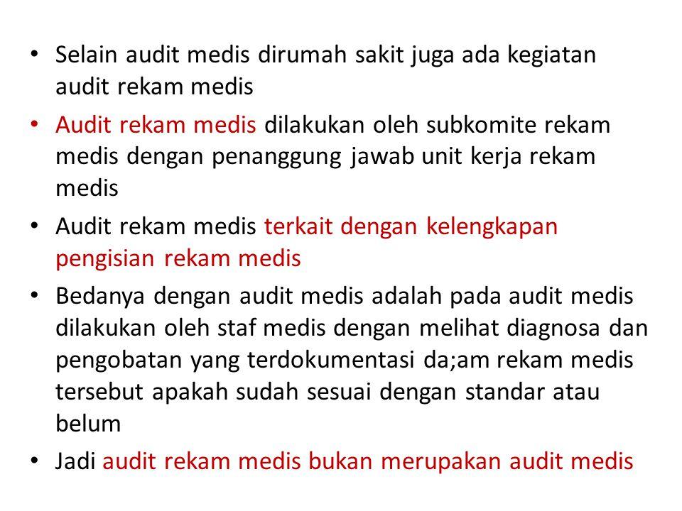 Selain audit medis dirumah sakit juga ada kegiatan audit rekam medis