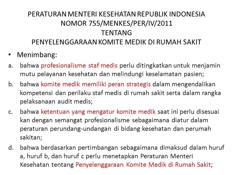 PERATURAN MENTERI KESEHATAN REPUBLIK INDONESIA NOMOR 755/MENKES/PER/IV/2011 TENTANG PENYELENGGARAAN KOMITE MEDIK DI RUMAH SAKIT