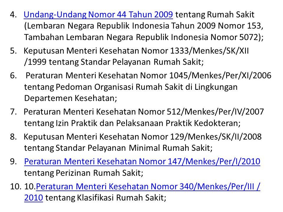 4. Undang-Undang Nomor 44 Tahun 2009 tentang Rumah Sakit (Lembaran Negara Republik Indonesia Tahun 2009 Nomor 153, Tambahan Lembaran Negara Republik Indonesia Nomor 5072);