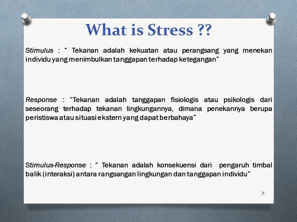 What is Stress Stimulus : Tekanan adalah kekuatan atau perangsang yang menekan individu yang menimbulkan tanggapan terhadap ketegangan