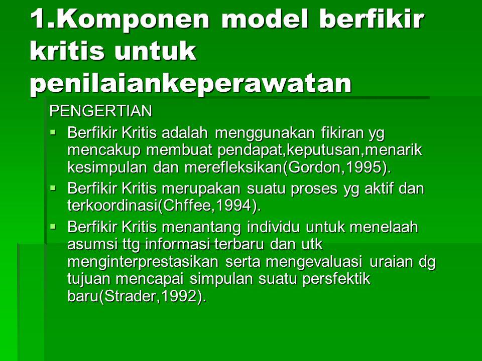 1.Komponen model berfikir kritis untuk penilaiankeperawatan