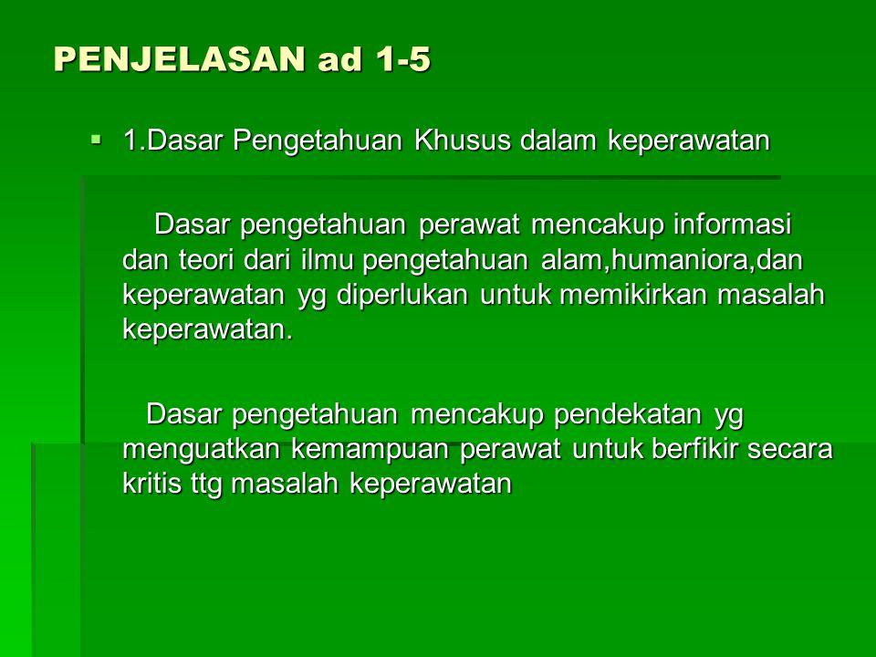 PENJELASAN ad 1-5 1.Dasar Pengetahuan Khusus dalam keperawatan
