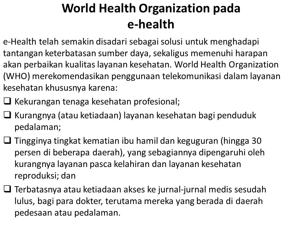 World Health Organization pada e-health