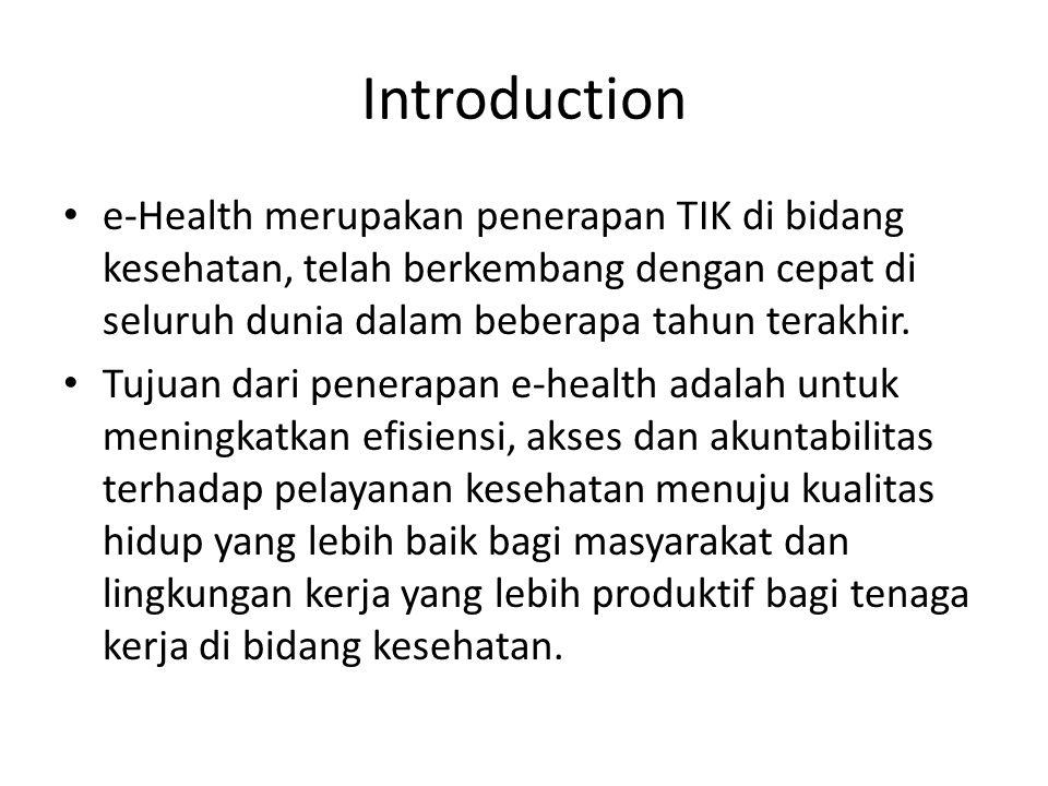 Introduction e-Health merupakan penerapan TIK di bidang kesehatan, telah berkembang dengan cepat di seluruh dunia dalam beberapa tahun terakhir.