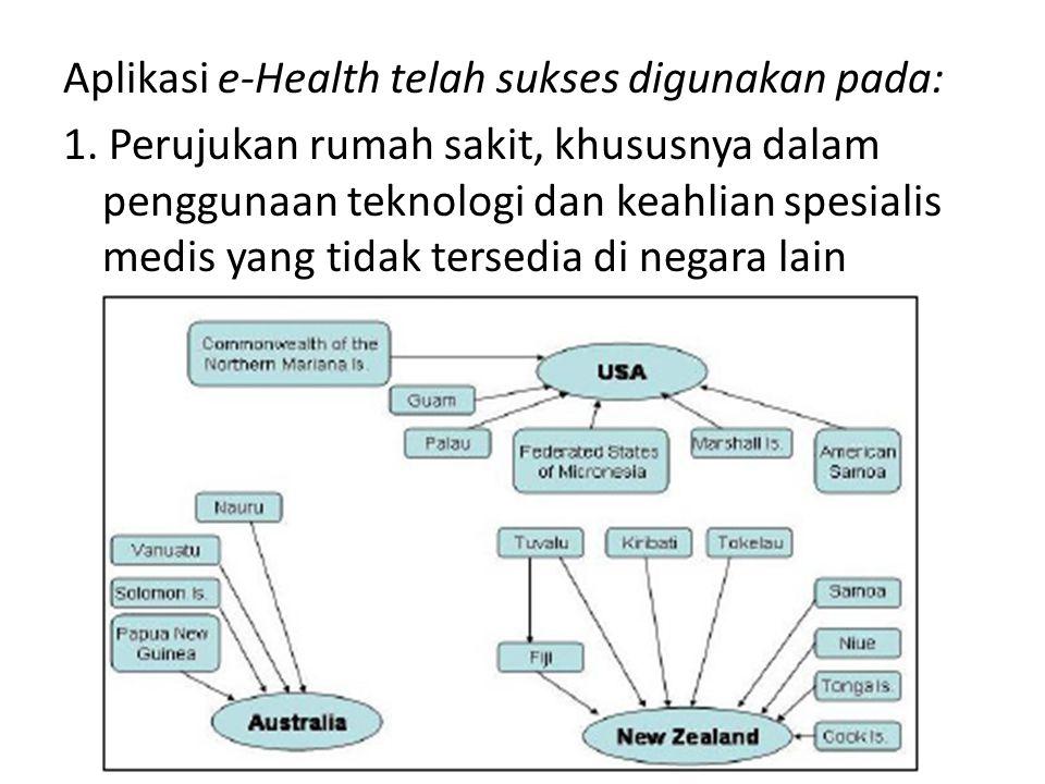 Aplikasi e-Health telah sukses digunakan pada: