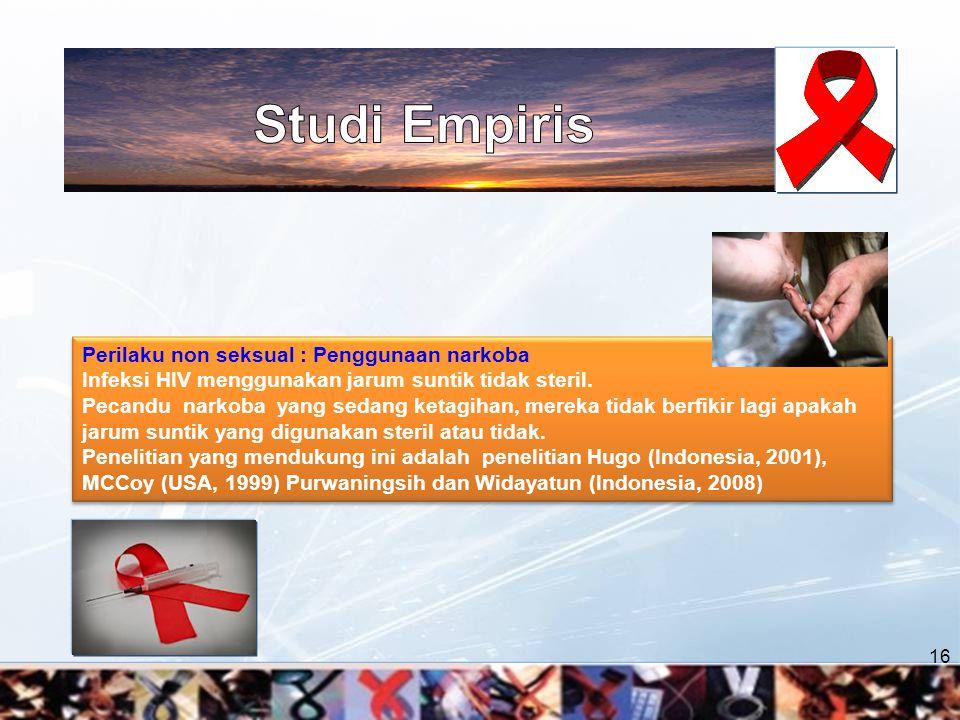 Studi Empiris Perilaku non seksual : Penggunaan narkoba