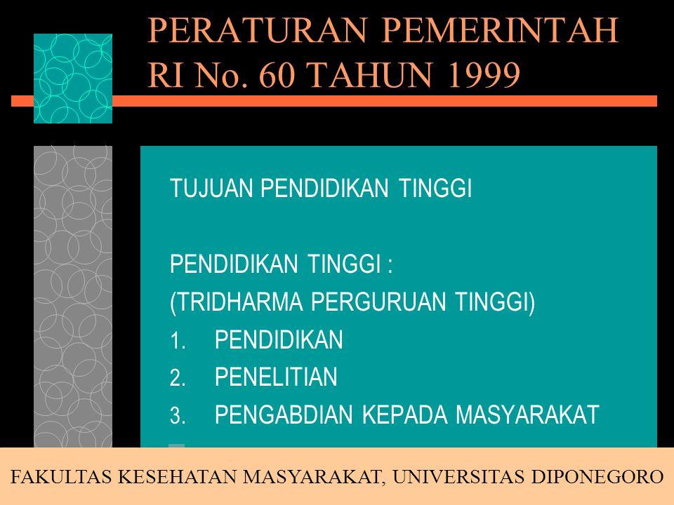 PERATURAN PEMERINTAH RI No. 60 TAHUN 1999