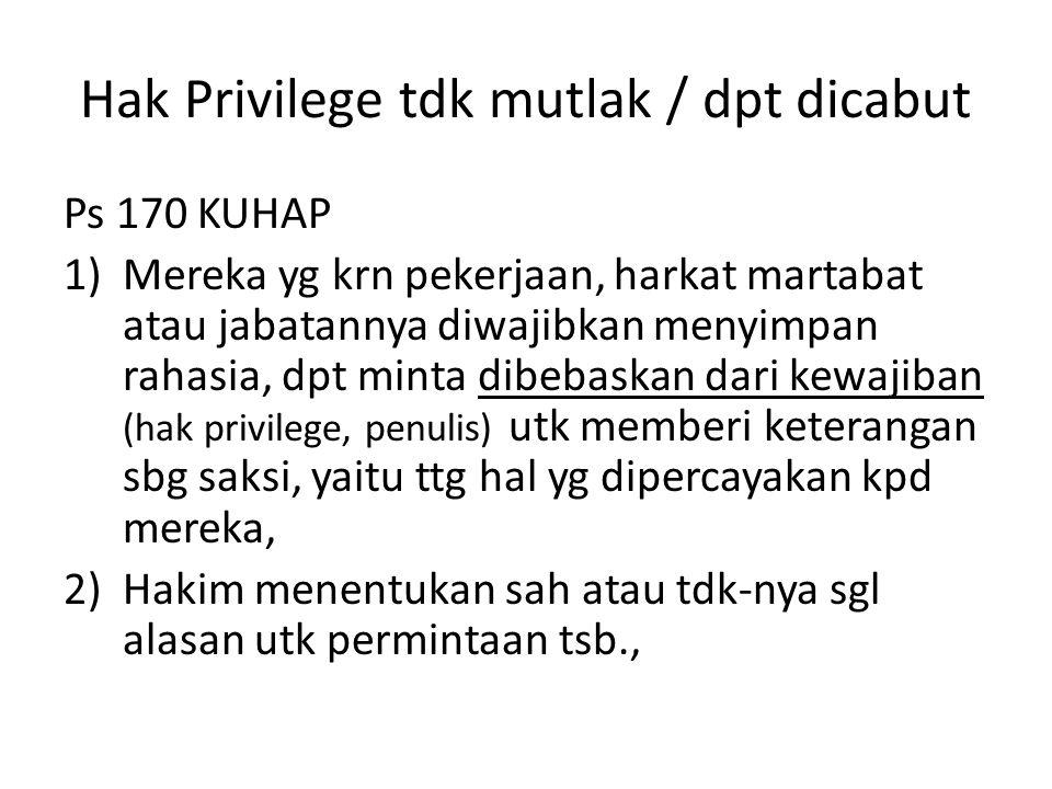 Hak Privilege tdk mutlak / dpt dicabut