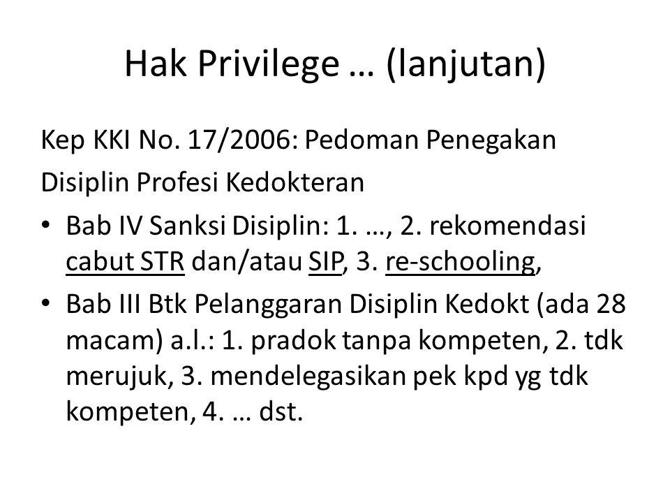 Hak Privilege … (lanjutan)