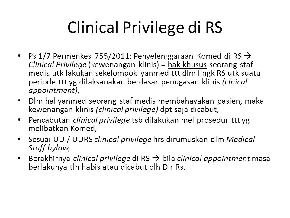 Clinical Privilege di RS