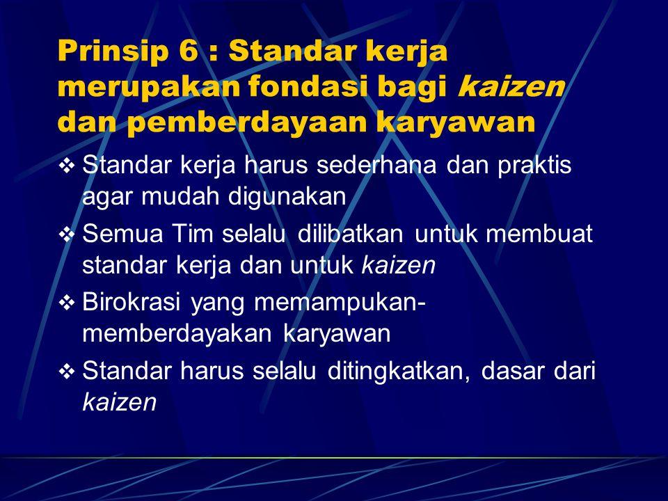 Prinsip 6 : Standar kerja merupakan fondasi bagi kaizen dan pemberdayaan karyawan