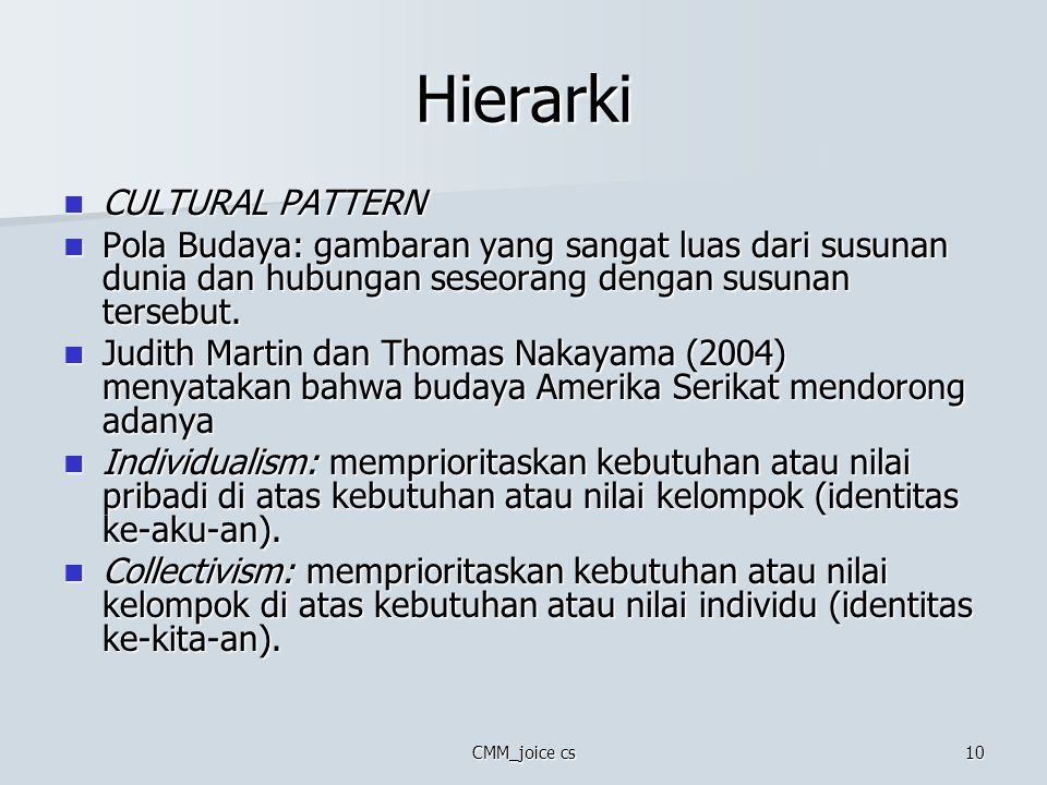 Hierarki CULTURAL PATTERN