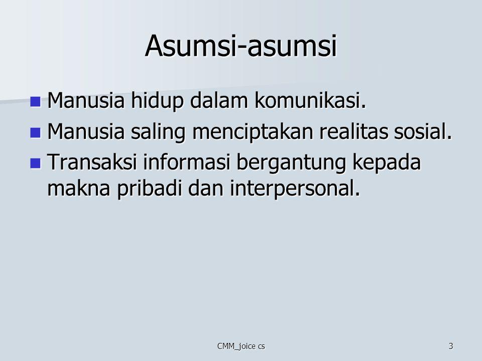Asumsi-asumsi Manusia hidup dalam komunikasi.