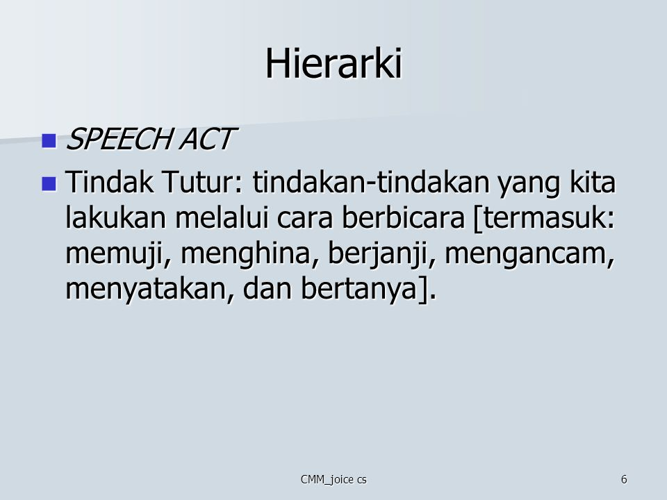 Hierarki SPEECH ACT.