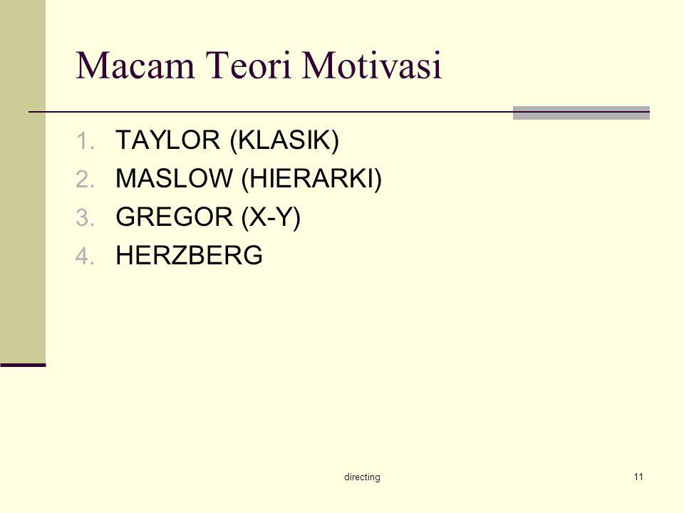 Macam Teori Motivasi TAYLOR (KLASIK) MASLOW (HIERARKI) GREGOR (X-Y)