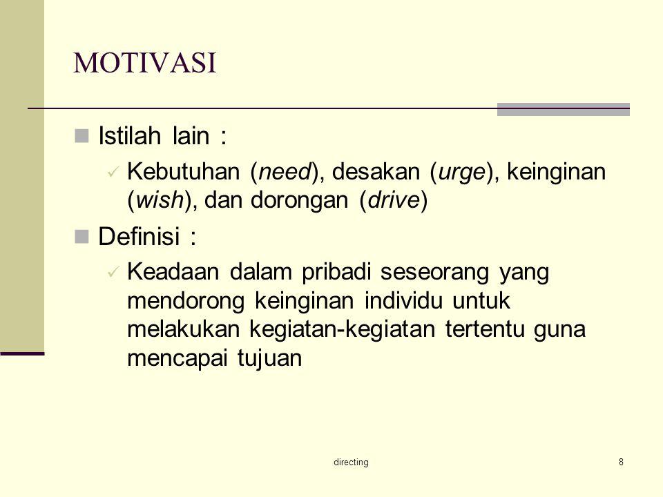 MOTIVASI Istilah lain : Definisi :