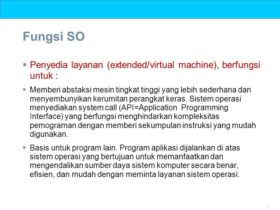 Fungsi SO Penyedia layanan (extended/virtual machine), berfungsi untuk :