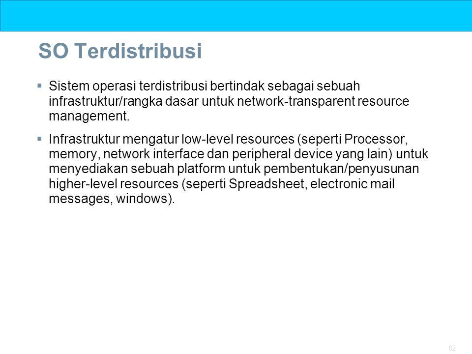 SO Terdistribusi Sistem operasi terdistribusi bertindak sebagai sebuah infrastruktur/rangka dasar untuk network-transparent resource management.