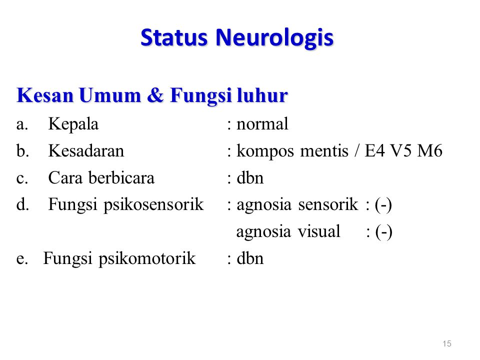 Status Neurologis Kesan Umum & Fungsi luhur Kepala : normal