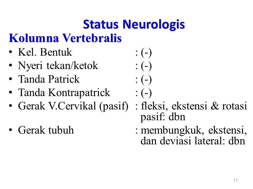 Status Neurologis Kolumna Vertebralis Kel. Bentuk : (-)