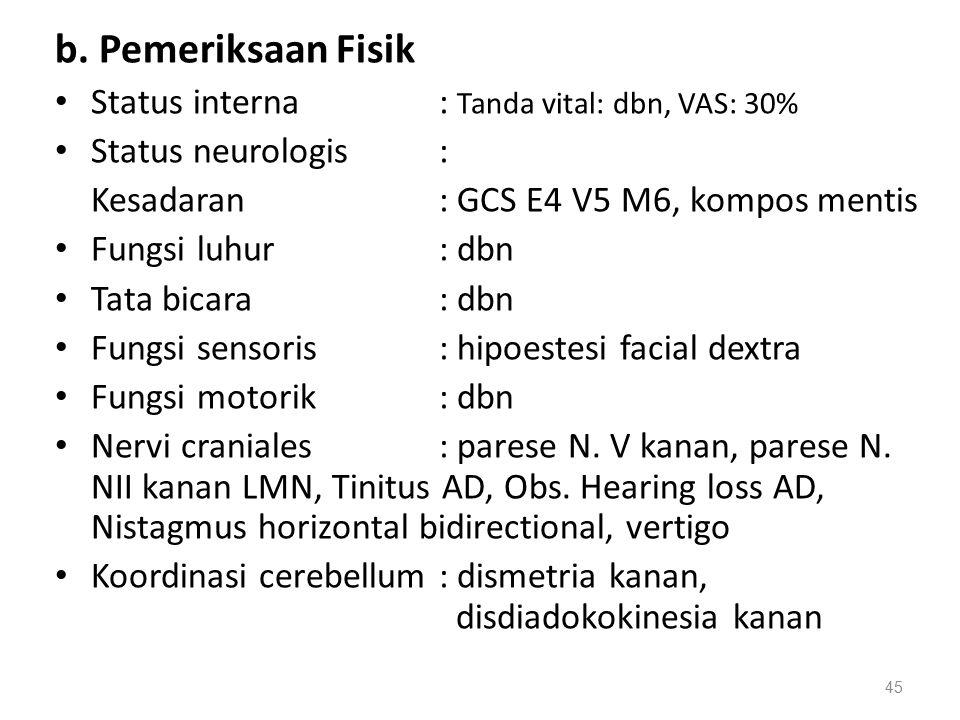 b. Pemeriksaan Fisik Status interna : Tanda vital: dbn, VAS: 30%