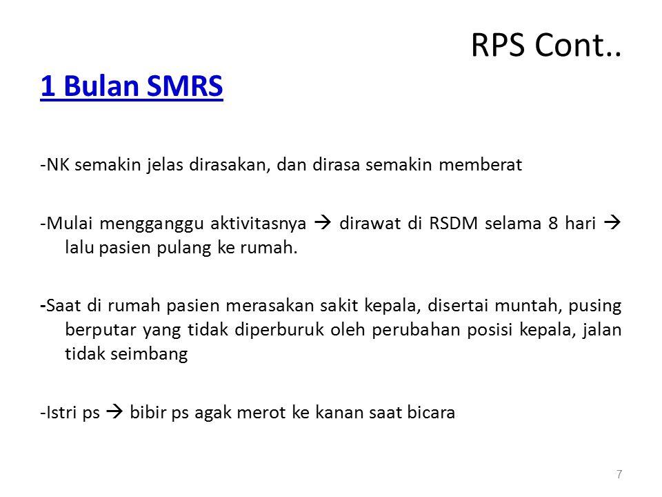 RPS Cont.. 1 Bulan SMRS. -NK semakin jelas dirasakan, dan dirasa semakin memberat.