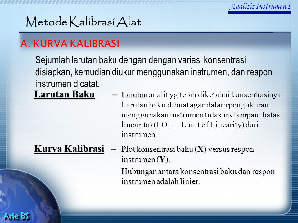 Metode Kalibrasi Alat A. KURVA KALIBRASI