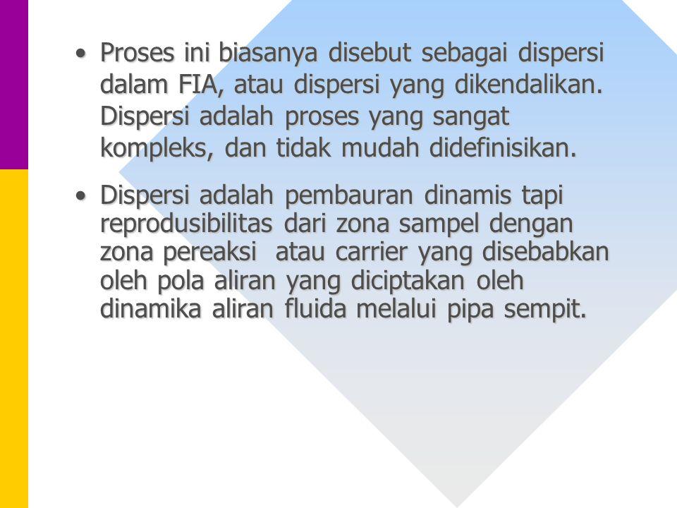 Proses ini biasanya disebut sebagai dispersi dalam FIA, atau dispersi yang dikendalikan. Dispersi adalah proses yang sangat kompleks, dan tidak mudah didefinisikan.