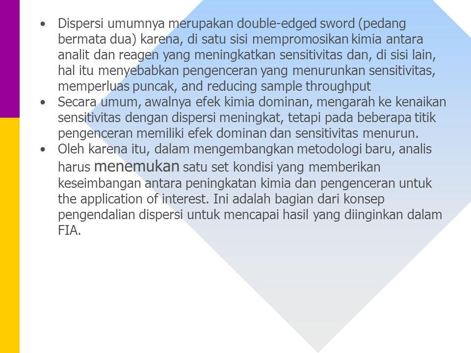 Dispersi umumnya merupakan double-edged sword (pedang bermata dua) karena, di satu sisi mempromosikan kimia antara analit dan reagen yang meningkatkan sensitivitas dan, di sisi lain, hal itu menyebabkan pengenceran yang menurunkan sensitivitas, memperluas puncak, and reducing sample throughput