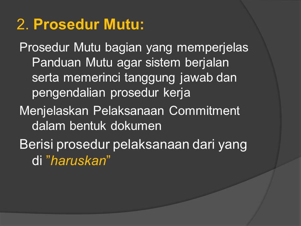 2. Prosedur Mutu: Berisi prosedur pelaksanaan dari yang di haruskan