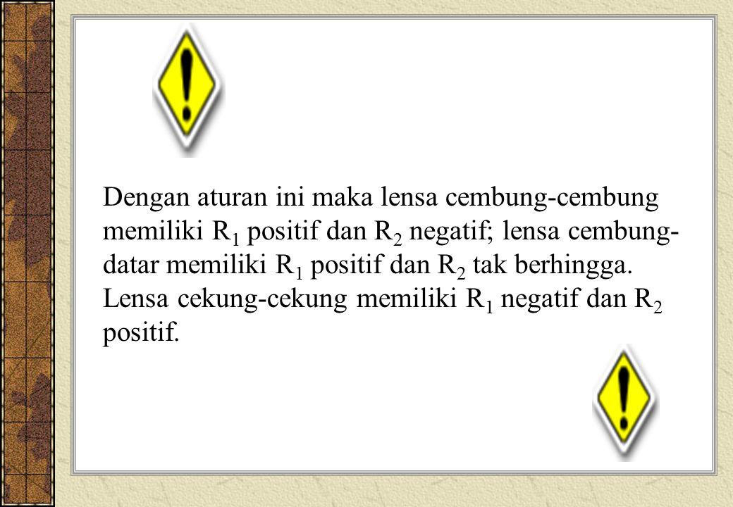 Dengan aturan ini maka lensa cembung-cembung memiliki R1 positif dan R2 negatif; lensa cembung-datar memiliki R1 positif dan R2 tak berhingga.