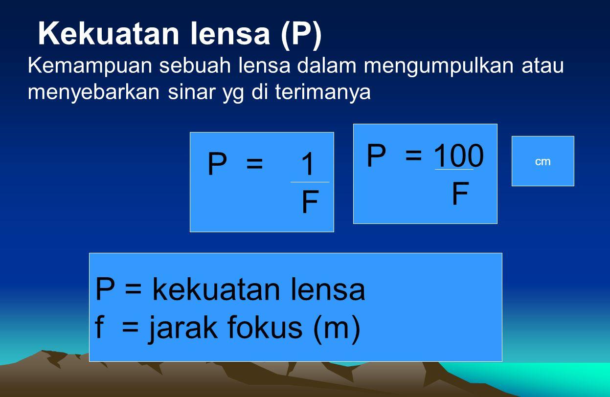 Kekuatan lensa (P) P = 100 P = 1 F F P = kekuatan lensa