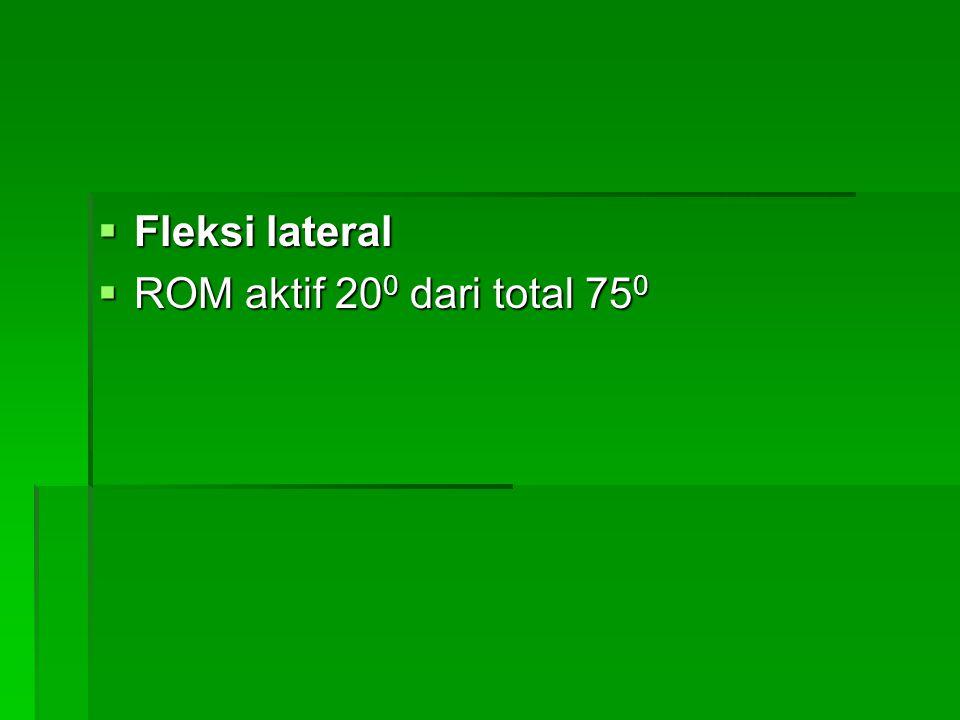 Fleksi lateral ROM aktif 200 dari total 750