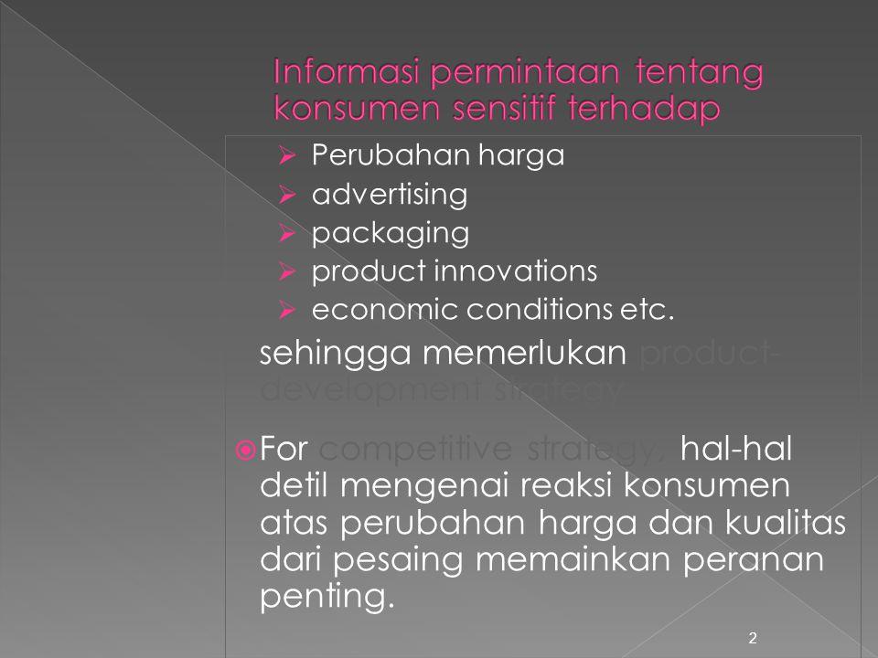 Informasi permintaan tentang konsumen sensitif terhadap