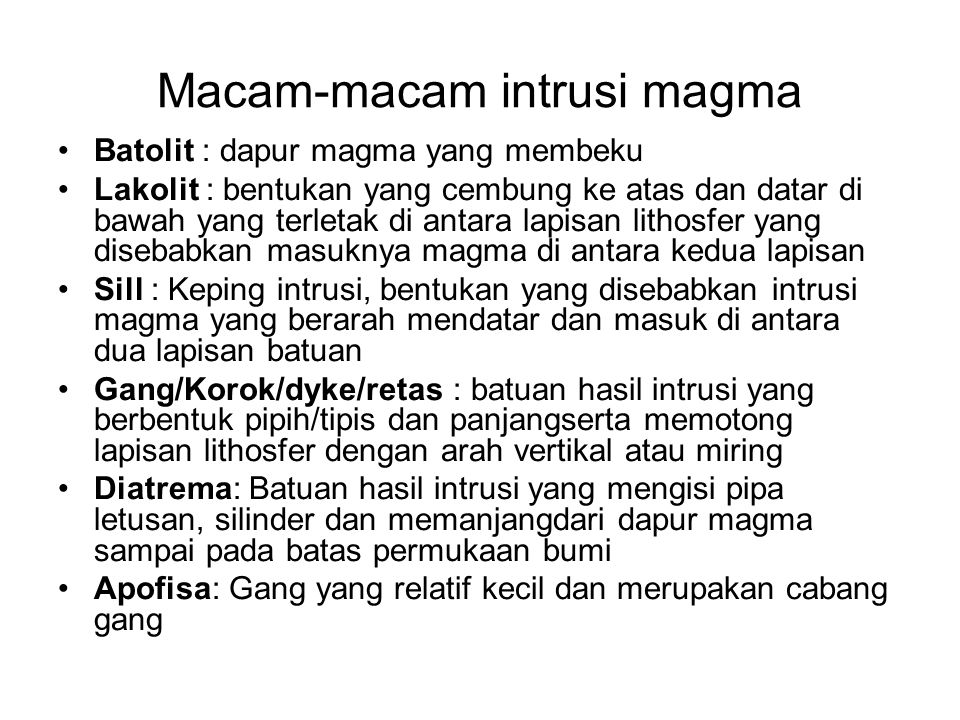 Macam-macam intrusi magma