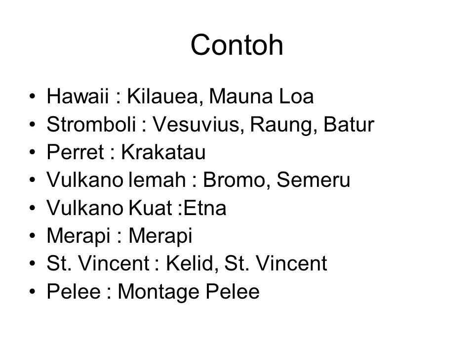 Contoh Hawaii : Kilauea, Mauna Loa Stromboli : Vesuvius, Raung, Batur