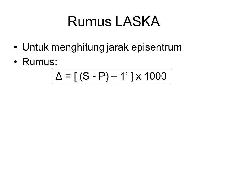Rumus LASKA Untuk menghitung jarak episentrum Rumus: