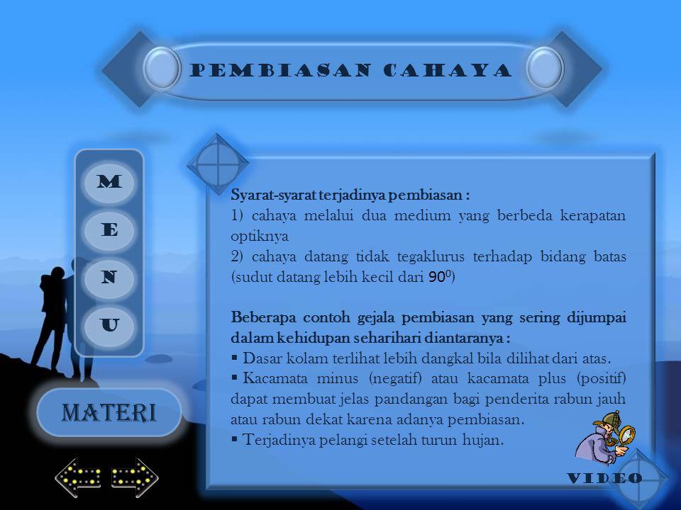 MATERI PEMBIASAN CAHAYA M Syarat-syarat terjadinya pembiasan :