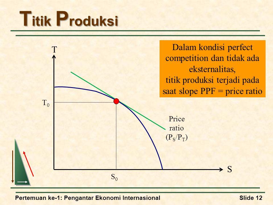 Titik Produksi Dalam kondisi perfect competition dan tidak ada eksternalitas, titik produksi terjadi pada saat slope PPF = price ratio.