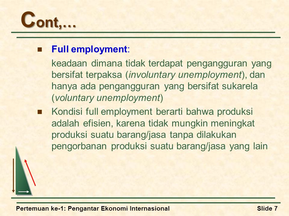 Cont,… Full employment: