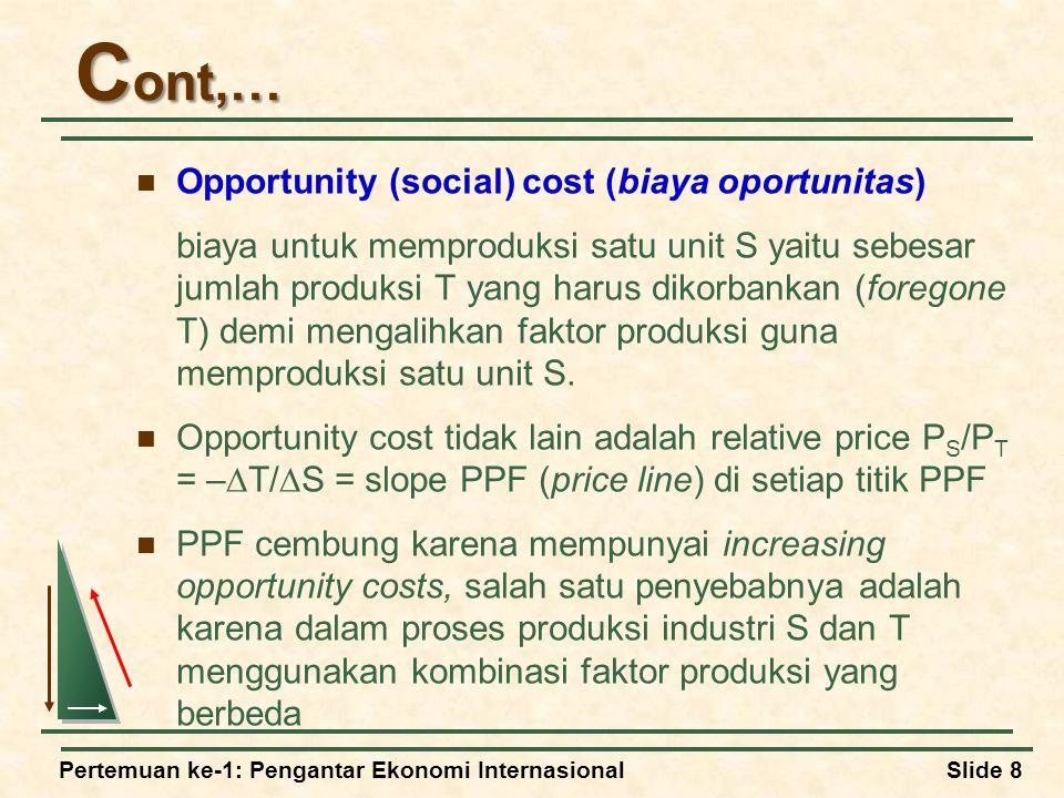Cont,… Opportunity (social) cost (biaya oportunitas)