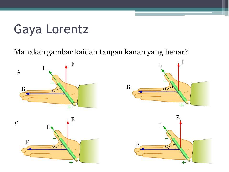 Gaya Lorentz Manakah gambar kaidah tangan kanan yang benar I F F I A