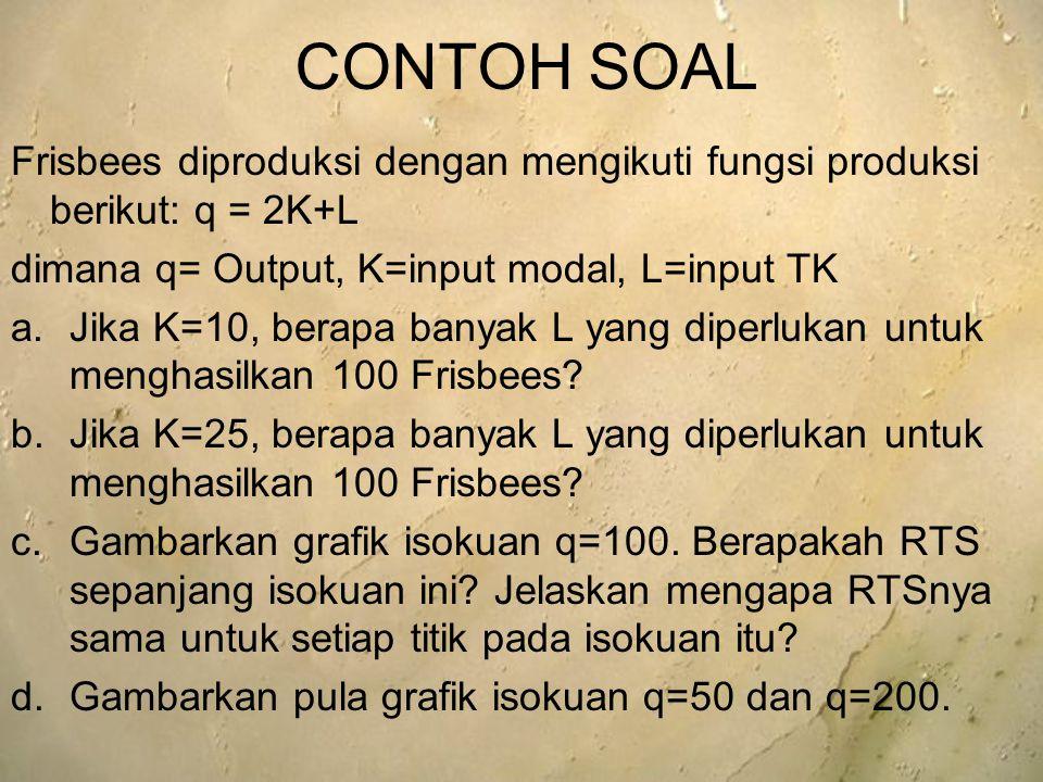 CONTOH SOAL Frisbees diproduksi dengan mengikuti fungsi produksi berikut: q = 2K+L. dimana q= Output, K=input modal, L=input TK.