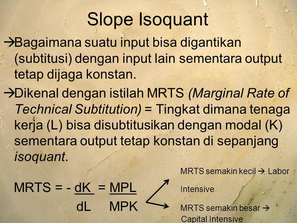 Slope Isoquant Bagaimana suatu input bisa digantikan (subtitusi) dengan input lain sementara output tetap dijaga konstan.