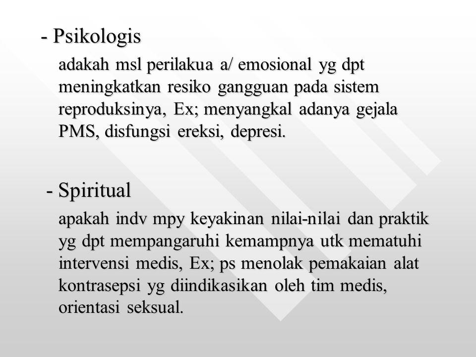 - Psikologis - Spiritual