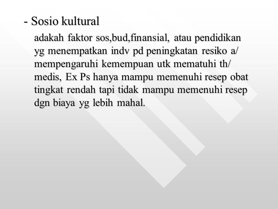 - Sosio kultural