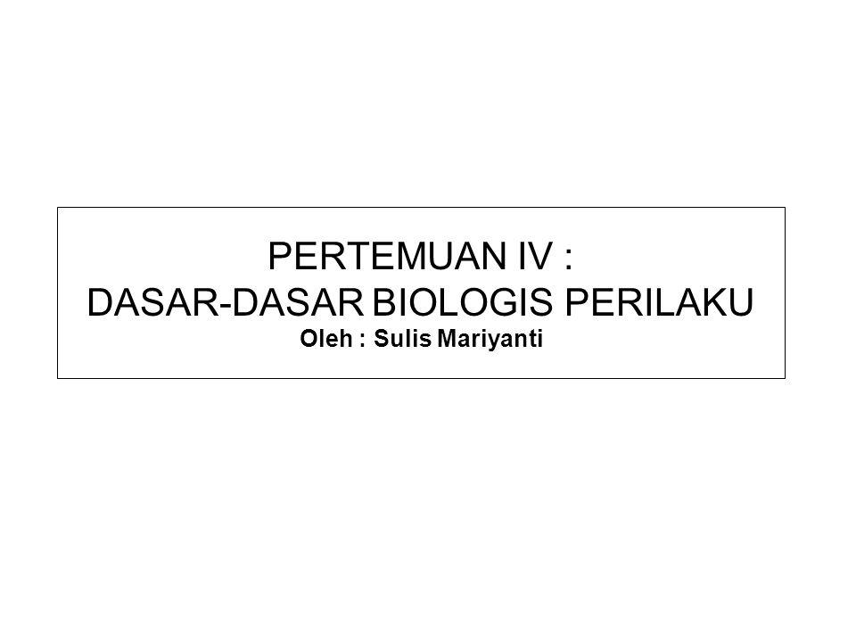 PERTEMUAN IV : DASAR-DASAR BIOLOGIS PERILAKU Oleh : Sulis Mariyanti