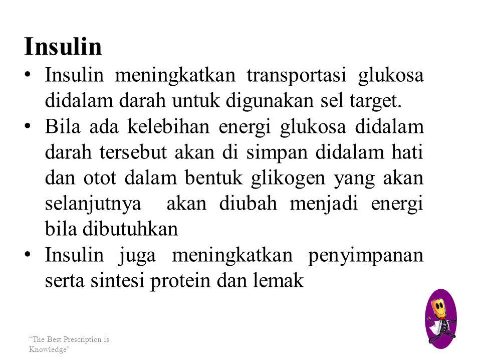Insulin Insulin meningkatkan transportasi glukosa didalam darah untuk digunakan sel target.