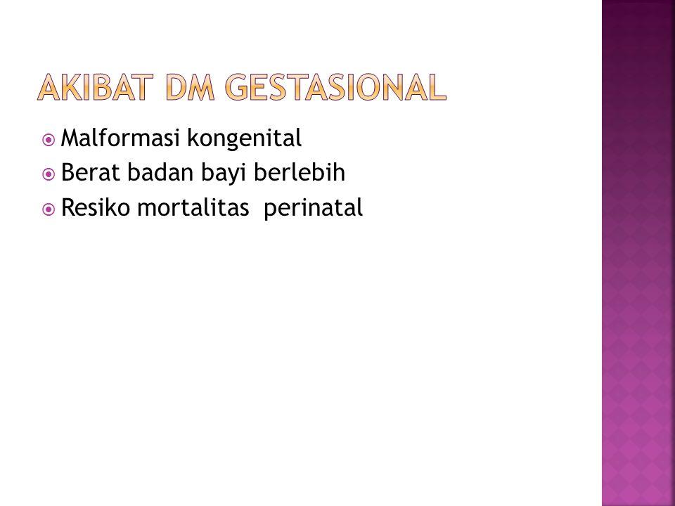 Akibat dm gestasional Malformasi kongenital Berat badan bayi berlebih