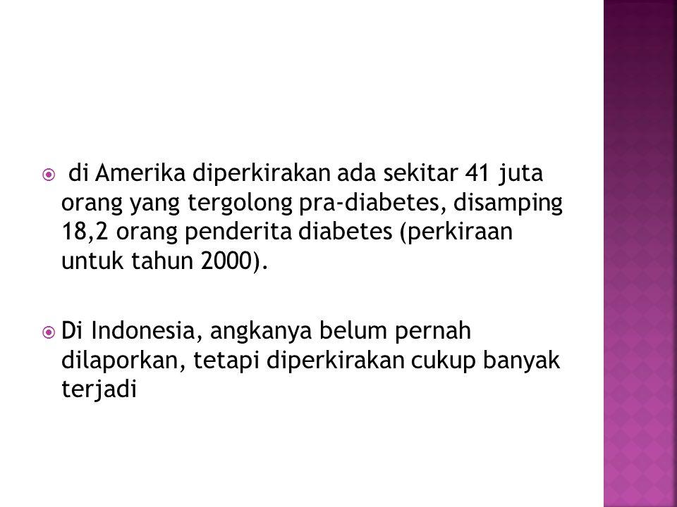 di Amerika diperkirakan ada sekitar 41 juta orang yang tergolong pra-diabetes, disamping 18,2 orang penderita diabetes (perkiraan untuk tahun 2000).